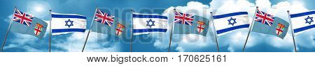 Fiji flag with Israel flag, 3D rendering