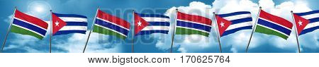 Gambia flag with cuba flag, 3D rendering