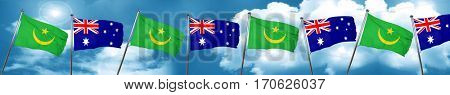Mauritania flag with Australia flag, 3D rendering