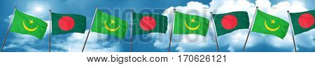 Mauritania flag with Bangladesh flag, 3D rendering