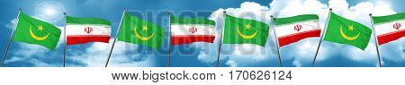 Mauritania flag with Iran flag, 3D rendering