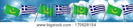 Mauritania flag with Greece flag, 3D rendering