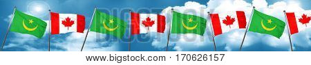 Mauritania flag with Canada flag, 3D rendering