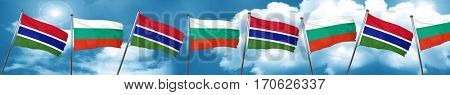 Gambia flag with Bulgaria flag, 3D rendering