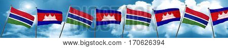 Gambia flag with Cambodia flag, 3D rendering