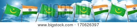 Mauritania flag with India flag, 3D rendering