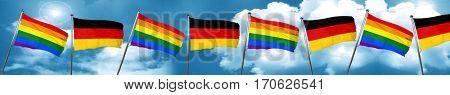 Gay pride flag with Germany flag, 3D rendering