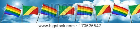 Gay pride flag with congo flag, 3D rendering