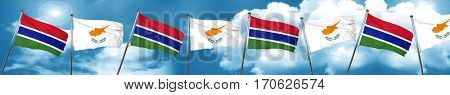 Gambia flag with Cyprus flag, 3D rendering