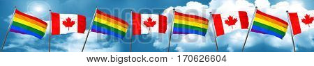 Gay pride flag with Canada flag, 3D rendering
