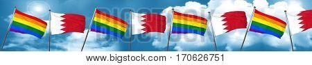 Gay pride flag with Bahrain flag, 3D rendering