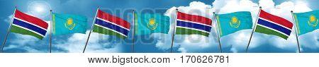 Gambia flag with Kazakhstan flag, 3D rendering