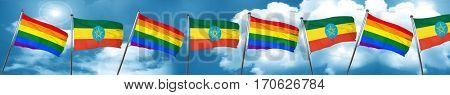 Gay pride flag with Ethiopia flag, 3D rendering