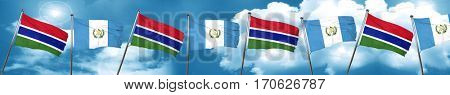 Gambia flag with Guatemala flag, 3D rendering