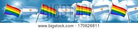 Gay pride flag with Argentine flag, 3D rendering