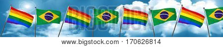 Gay pride flag with Brazil flag, 3D rendering