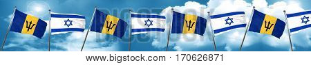 Barbados flag with Israel flag, 3D rendering