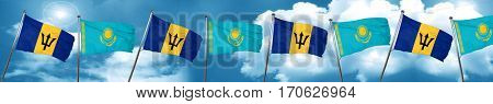Barbados flag with Kazakhstan flag, 3D rendering