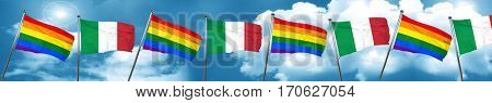Gay pride flag with Italy flag, 3D rendering