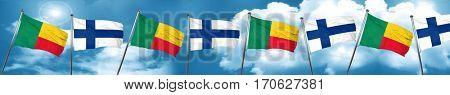 Benin flag with Finland flag, 3D rendering