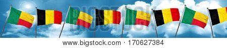 Benin flag with Belgium flag, 3D rendering