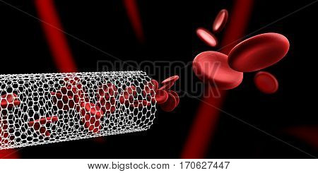 Red blood cells in nano tube. Blood elements, 3d Illustration