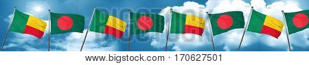 Benin flag with Bangladesh flag, 3D rendering