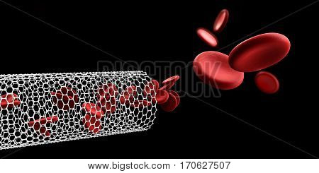 Red blood cells in nano tube. Blood elements, 3d Illustration, isolated black