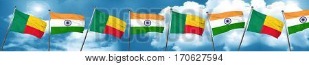 Benin flag with India flag, 3D rendering
