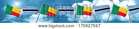 Benin flag with Botswana flag, 3D rendering