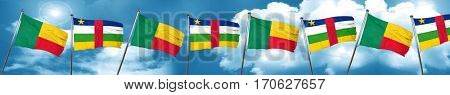 Benin flag with Central African Republic flag, 3D rendering