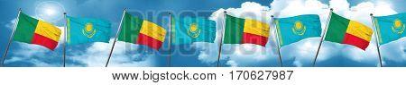 Benin flag with Kazakhstan flag, 3D rendering