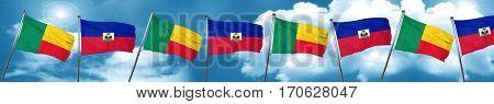 Benin flag with Haiti flag, 3D rendering