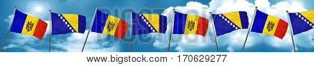 Moldova flag with Bosnia and Herzegovina flag, 3D rendering