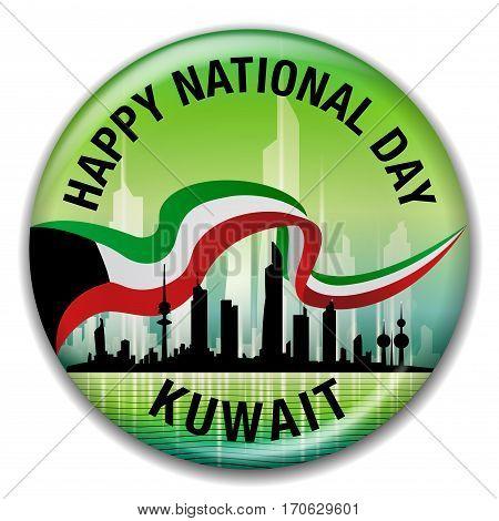 Happy National Day Kuwait Green Round Pin Badge