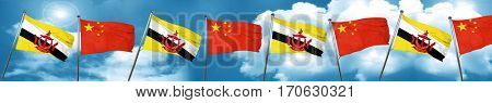 Brunei flag with China flag, 3D rendering