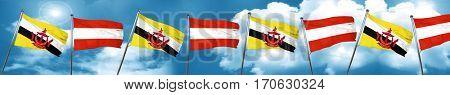 Brunei flag with Austria flag, 3D rendering