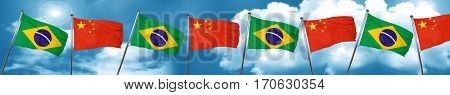 Brasil flag with China flag, 3D rendering
