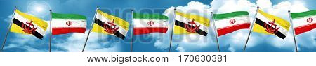 Brunei flag with Iran flag, 3D rendering