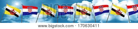 Brunei flag with Croatia flag, 3D rendering