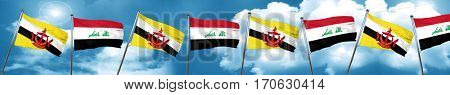 Brunei flag with Iraq flag, 3D rendering