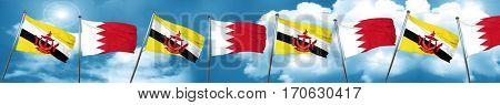 Brunei flag with Bahrain flag, 3D rendering