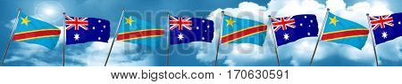 Democratic republic of the congo flag with Australia flag, 3D re
