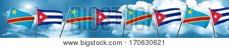 Democratic republic of the congo flag with cuba flag, 3D renderi