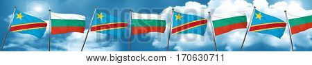 Democratic republic of the congo flag with Bulgaria flag, 3D ren