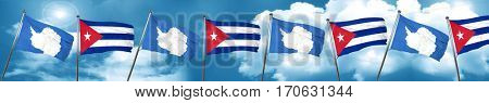 antarctica flag with cuba flag, 3D rendering