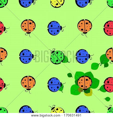 God Ladybug On A Leaf. Seamless Pattern