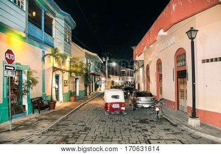 FLORES, GUATEMALA- DEC 22, 2015: Night streets in Isla de Flores on Dec 22, 2015, Guatemala , central America.