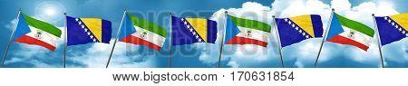 Equatorial guinea flag with Bosnia and Herzegovina flag, 3D rend