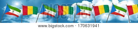 Equatorial guinea flag with Guinea flag, 3D rendering